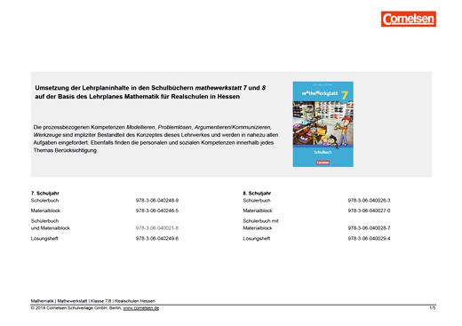 Mathewerkstatt - Synopse Mathewerkstatt 7/8 Realschule Hessen - Synopse - Webshop-Download