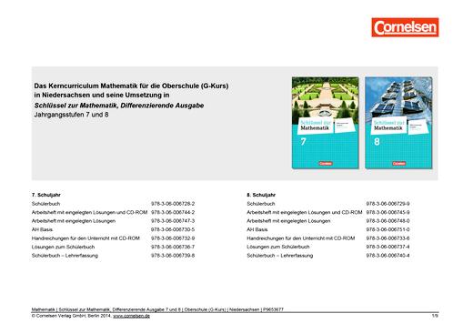 Schlüssel zur Mathematik - Synopse Schlüssel zur Mathematik, Differenzierende Ausgabe 7 und 8 - Synopse