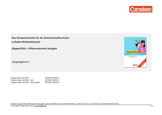 Doppel-Klick - Doppel-Klick Baden-Württemberg Differenzierende Ausgabe 1 / Kompetenzraster für Klasse 5 - Synopse - Band 1: 5. Schuljahr