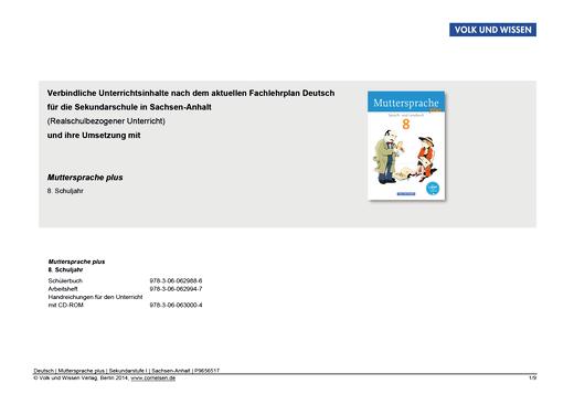 Muttersprache plus - Synopse für Sachsen-Anhalt - Realschulbezogener Unterricht - 8. Schuljahr