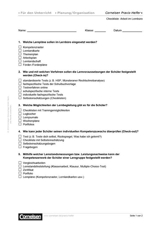 Checkliste: Arbeit im Lernbüro - Editierbare Kopiervorlage