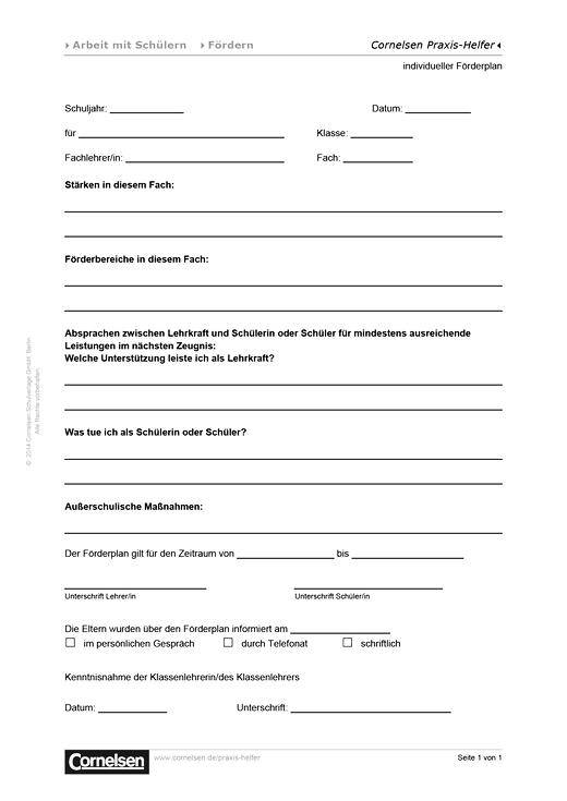Individueller Förderplan - Editierbare Kopiervorlage