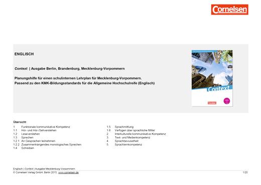 Context - Context Planungshilfe für einen schulinternen Lehrplan (Mecklenburg-Vorpommern) - Synopse