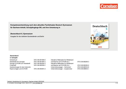 Deutschbuch Gymnasium - Synopse Deutschbuch 6, Gymnasium/Fachgymnasium Sachsen-Anhalt - Synopse - 6. Schuljahr