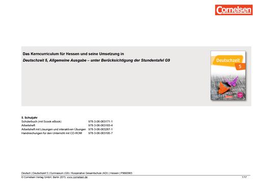 Deutschzeit - Synopse für Hessen (G9) - 5. Schuljahr