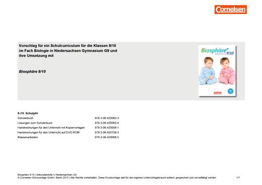 Biosphäre Sekundarstufe I - Vorschlag für ein Schulcurriculum für das 9./10. Schuljahr zum G9 auf der Grundlage von Biosphäre für Niedersachsen - Stoffverteilungsplan - 9./10. Schuljahr