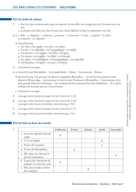 À plus ! - Dix ânes dans les Cévennes Lösungen zu den Arbeitsblättern - Lösungen - Band 2