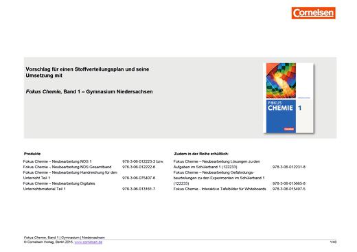 Fokus Chemie - Neubearbeitung - Vorschlag für ein Schulcurriculum mit Fokus Chemie Band 1 für das G9 in Niedersachsen - Stoffverteilungsplan - Webshop-Download