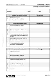 Förderbedarf und Fördermöglichkeiten 2 - Editierbare Kopiervorlage
