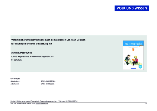 Muttersprache plus - Synopse für Thüringen - Realschulbezogener Kurs - 9. Schuljahr