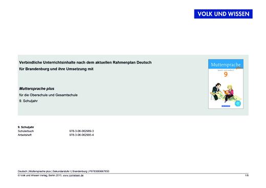 Muttersprache plus - Synopse für Brandenburg - 9. Schuljahr