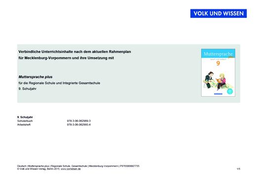 Muttersprache plus - Synopse für Mecklenburg-Vorpommern - 9. Schuljahr