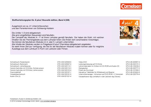 À plus ! - À plus ! Nouvelle édition Band 4 Stoffverteilungsplan Schleswig-Holstein G9 - Stoffverteilungsplan - Webshop-Download