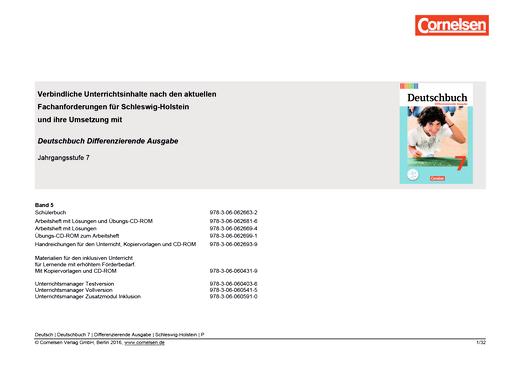 Deutschbuch - Planungshilfe für Schleswig-Holstein - 7. Schuljahr