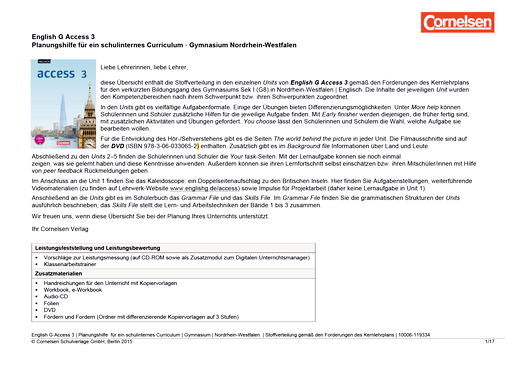 English G Access - English G Access 3 – Planungshilfe für ein schulinternes Curriculum Nordrhein-Westfalen - Synopse - Webshop-Download