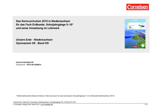 Unsere Erde - Unsere Erde Gymnasium G9 Niedersachsen Band 5/6: Planungshilfe schuleigenes Curriculum - Synopse - 5./6. Schuljahr