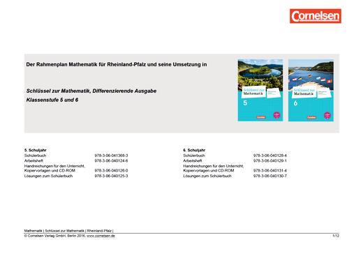 Der Rahmenplan Mathematik für Rheinland-Pfalz und seine Umsetzung in Schlüssel zur Mathematik 5 und 6 - Synopse