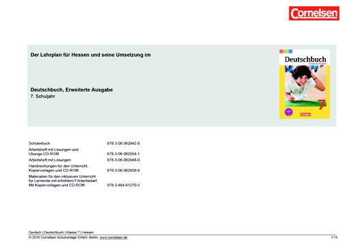 Deutschbuch - Deutschbuch Erweiterte Ausgabe 7 – Planungshilfe Lehrplan Hessen - Planungshilfe - 7. Schuljahr