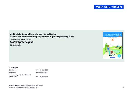 Muttersprache plus - Planungshilfe Rahmenplan Mecklenburg-Vorpommern - 10. Schuljahr