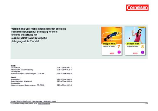 Doppel-Klick - Planungshilfe für Schleswig-Holstein - 7./8. Schuljahr