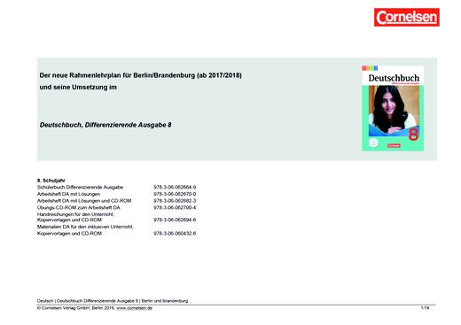 Deutschbuch - Planungshilfe Berlin und Brandenburg - 8. Schuljahr