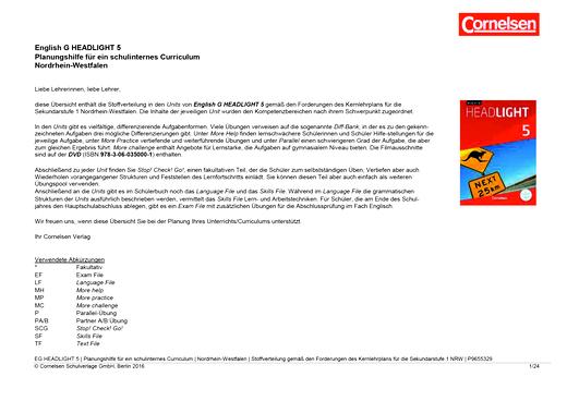 English G Headlight - Planungshilfe für Nordrhein-Westfalen - Band 5: 9. Schuljahr