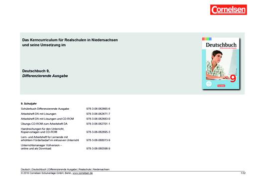Deutschbuch - Deutschbuch Differenzierende Ausgabe 9 – Planungshilfe Kerncurriculum Realschule Niedersachsen - Planungshilfe - 9. Schuljahr