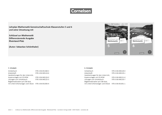 Schlüssel zur Mathematik - Der Kernlehrplan Mathematik Gemeinschaftsschule für das Saarland und seine Umsetzung in Schlüssel zur Mathematik 5/6 - Synopse - 5. Schuljahr