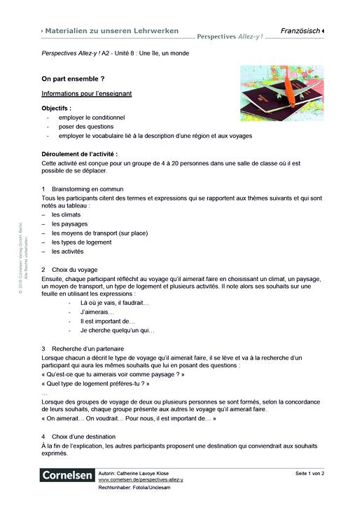 Perspectives - Allez-y ! - Unité 8: On part ensemble? - Arbeitsblatt - Webshop-Download