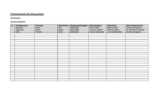 Teilnehmerliste Ski-Klassenfahrt - Vorlage für den Schulalltag