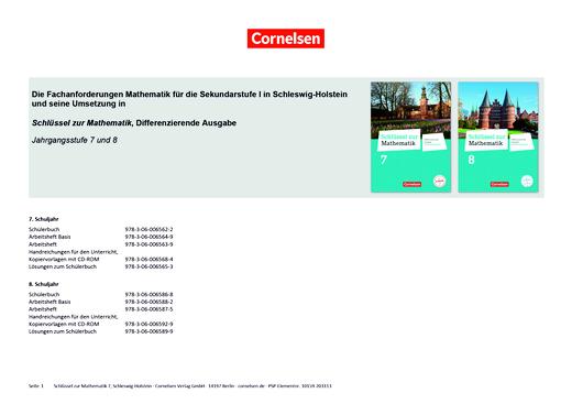 Schlüssel zur Mathematik - Der Lehrplan Mathematik für Schleswig-Holstein und seine Umsetzung in Schlüssel zur Mathematik 7 und 8 - Synopse - 8. Schuljahr