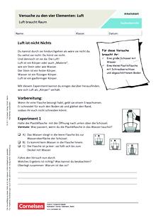 Versuche zu den vier Elementen: Luft - Arbeitsblatt