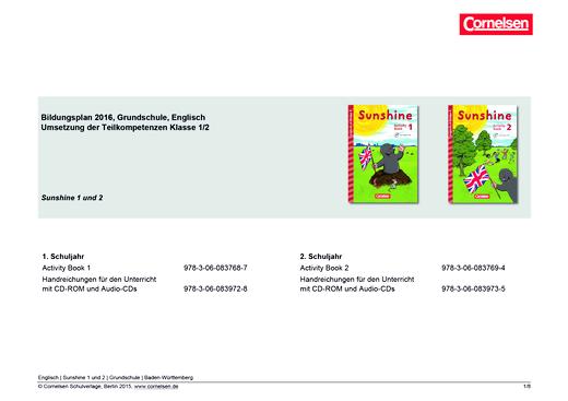 Sunshine - Synopse für Baden-Württemberg - 2. Schuljahr