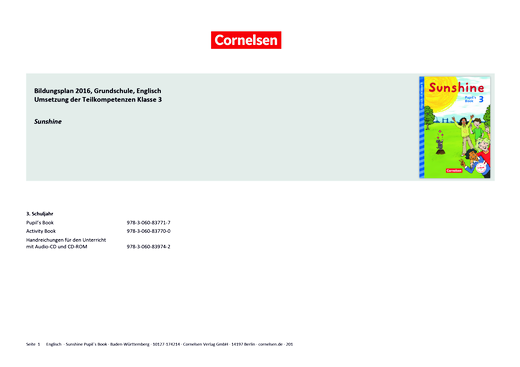 Sunshine - Sunshine 3 – Synopse zum Bildungsplan Baden-Württemberg - Synopse - 3. Schuljahr