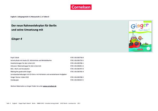 Ginger - Stoffverteilungsplan Ginger 4 zum Rahmenlehrplan Berlin/Brandenburg - Stoffverteilungsplan - Webshop-Download