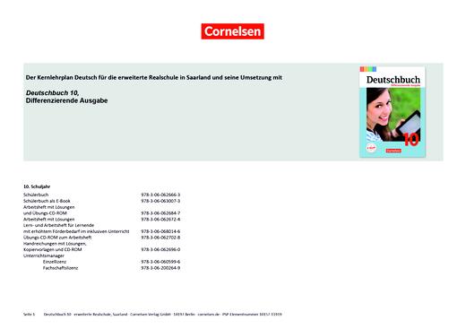 Deutschbuch - Planungshilfe für das Saarland - 10. Schuljahr