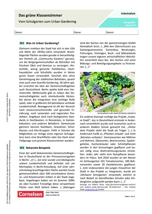 Das grüne Klassenzimmer – Vom Schulgarten zum Urban Gardening - Arbeitsblatt - Webshop-Download