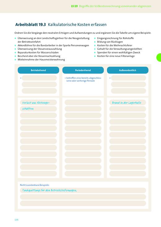 Wirtschaft für Fachoberschulen und Höhere Berufsfachschulen - Korrektur Inhaltsseite 135 vom AB 11 BWL mit REWE - Korrekturseiten - Jahrgangsstufe 11