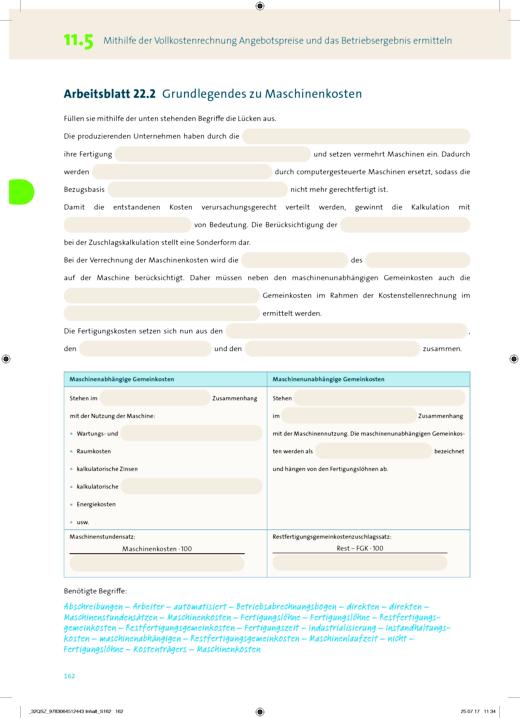 Wirtschaft für Fachoberschulen und Höhere Berufsfachschulen - Korrektur Inhaltsseite 162 vom AB 11 BWL mit REWE - Korrekturseiten - Jahrgangsstufe 11