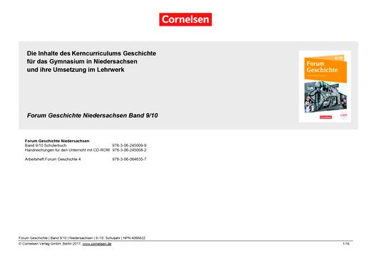 Forum Geschichte - Neue Ausgabe - Planungshilfe - 9./10. Schuljahr