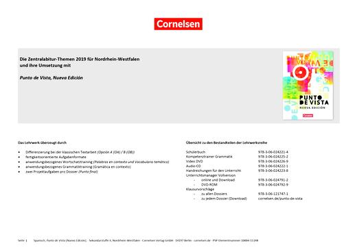 Punto de vista - Die Zentralabitur-Themen 2019 für NRW - Synopse - B1/B2