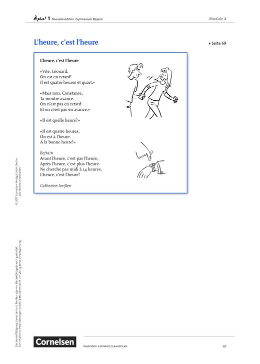 À plus ! - Module 4 – S. 69/3 - Arbeitsblatt - Band 1