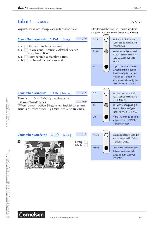 À plus ! - À plus! 1 Bayern – Bilan 1 – S. 70-71 - Lösungen - Band 1