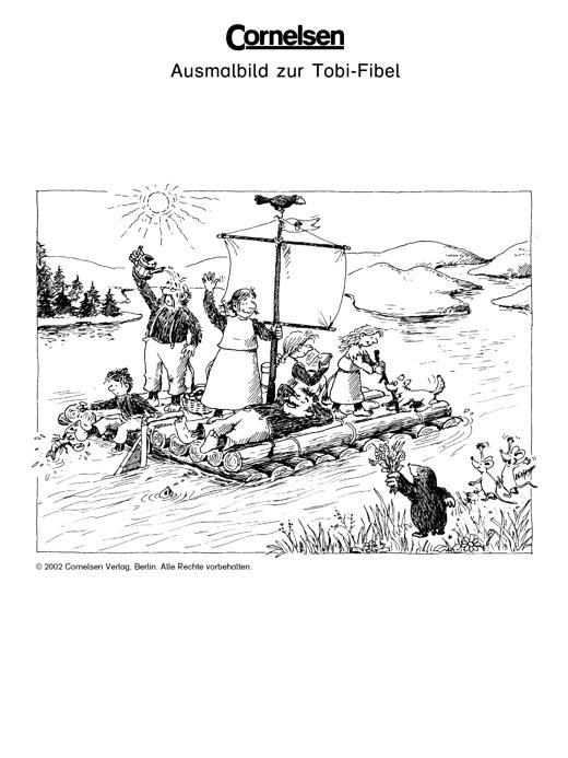 Ausmalbild zur Tobi-Fibel: Auf dem Floß - Arbeitsblatt