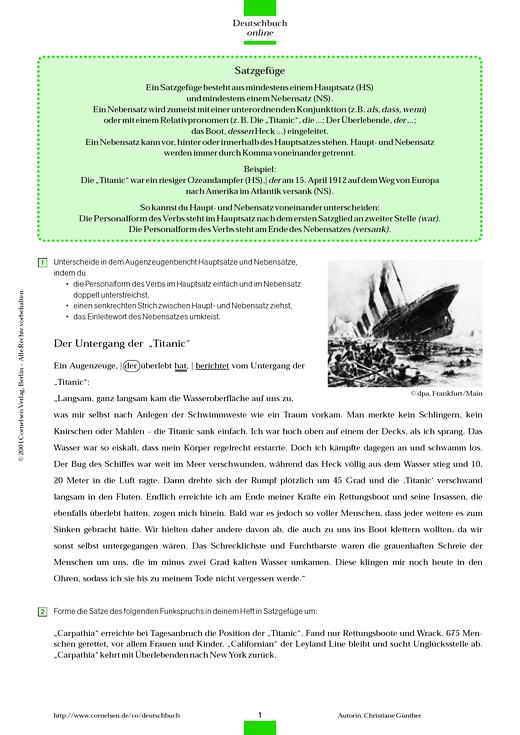 Deutschbuch Gymnasium - Grammatikübung: Satzgefüge/Zeichensetzung - Arbeitsblatt - 6. Schuljahr