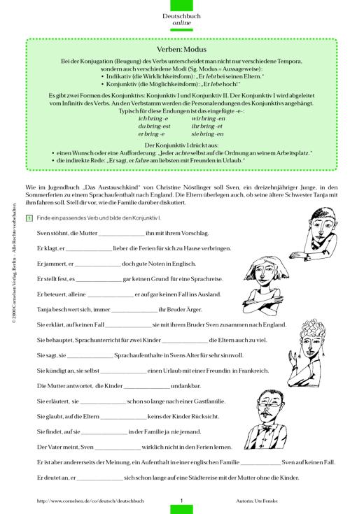 Verben Modus Konjunktiv I Und Ii Arbeitsblatt Webshop Download