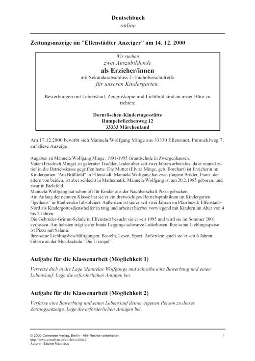 Verfassen von Bewerbung und Lebenslauf - Leistungsmessung, Test, Prüfung - zu Lehrwerken - Webshop-Download