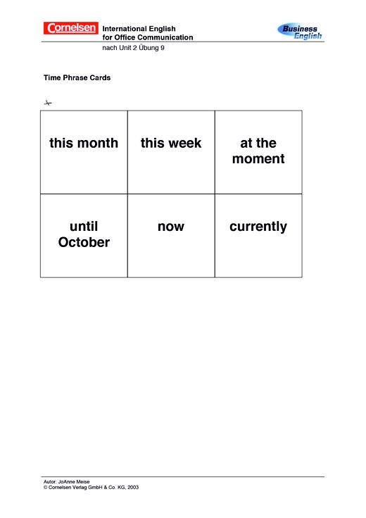 Time Phrase Cards - Spiel - Webshop-Download