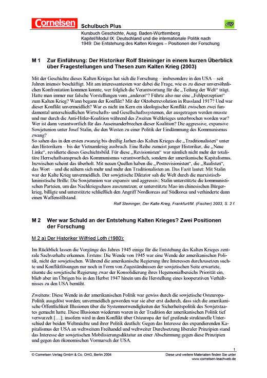 Deutschland und die internationale Politik nach 1949: Die Entstehung des Kalten Krieges – Positionen der Forschung - Arbeitsblatt - Webshop-Download