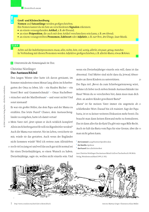 rechtschreib bung gro und kleinschreibung von nomen arbeitsblatt webshop download cornelsen. Black Bedroom Furniture Sets. Home Design Ideas